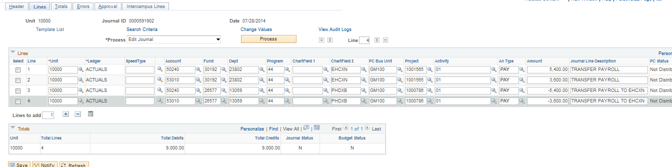 Example of Payroll Transfer Journal