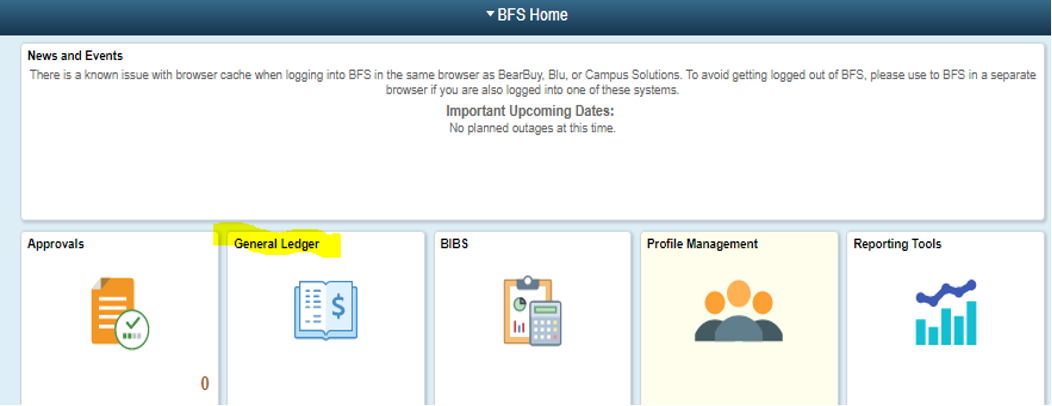 Image of BFS Home Screen showing the General Ledger tile