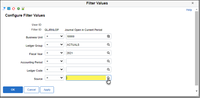 Image shows menu to change filter values