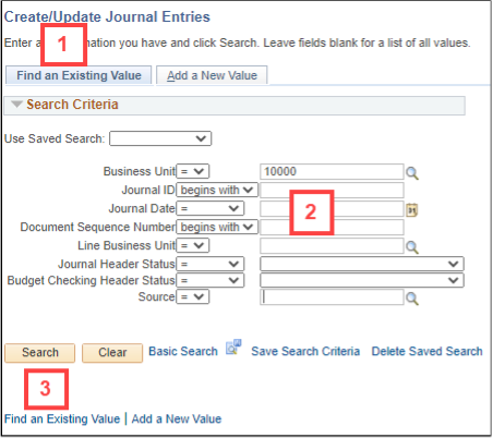 image shows tab and field locations for steps 1, 2 and 3