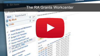 The RA Grants WorkCenter